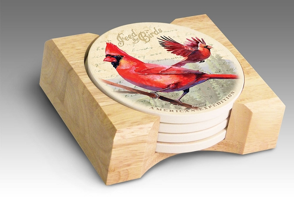 Northern cardinal vintage series absorbent stone coaster set of 4 - Stone absorbent coasters ...