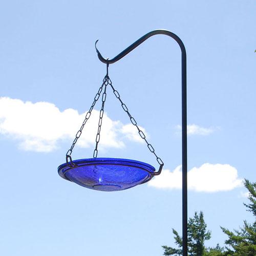 Crackle Glass Hanging Bird Bath 14 Cobalt Blue