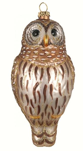 Cobane studios barred owl blown glass ornament