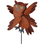 Brown Owl Whirligig Wind Spinner Small