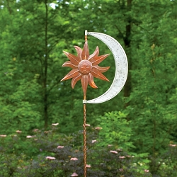 Celestial Flamed Copper Wind Spinner with Twisted Stake