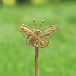 Flamed Copper Butterfly Spinner Stake Small Set of 4