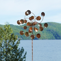 Flamed Copper Double Round Disc Wind Spinner with Twisted Stake