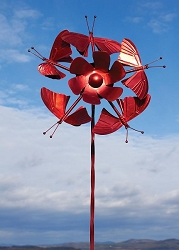 5 Butterflies Red Wind Spinner with Twisted Stake