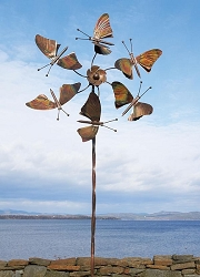 Fluttering Butterflies Flamed Copper Wind Spinner with Twisted Stake