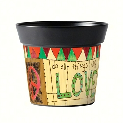 Studio M 6 Inch Art Pot Painted Peace with Love