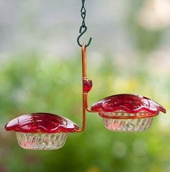 Copper Hummingbird Feeder Double Cup