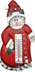 Holiday Cat in Pajamas Window Thermometer Small