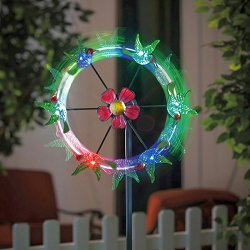 Flying Hummingbirds Solar Color-Changing Kinetic Stake