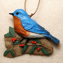 Bluebird with Holly Ornament