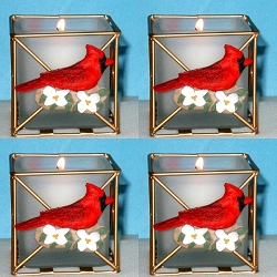 Audubon Cardinal & Dogwood Candle Holder Set of 4