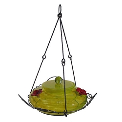 Garden Top Fill Hummingbird Feeder Yellow Swirl