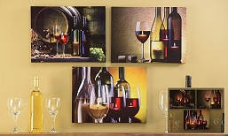 Wine Design LED Canvas Wall Art Prints Set of 3
