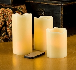 LED Flameless Candle Vanilla Pillar 3-Piece w/Remote