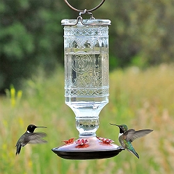Elegant Antique Glass Bottle Hummingbird Feeder Clear 24oz