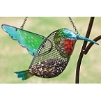 Hummingbird Glass and Metal Mesh Bird Feeder