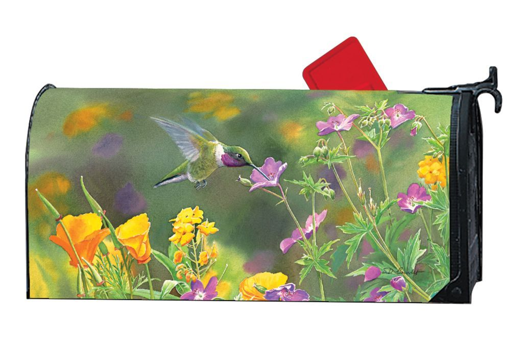 Hummingbird Hover Mailwrap Magnetic Mailbox Cover