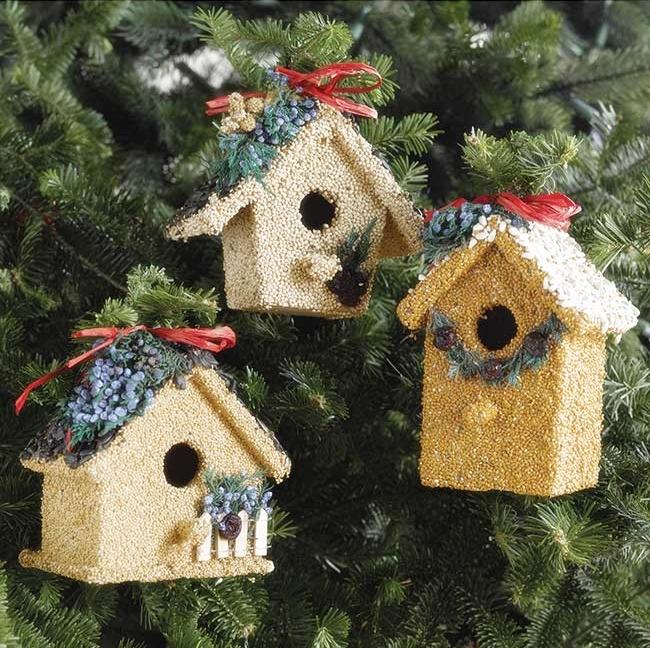 Christmas Birdhouses.Holiday Birdie Cottage Treat Set Of 3