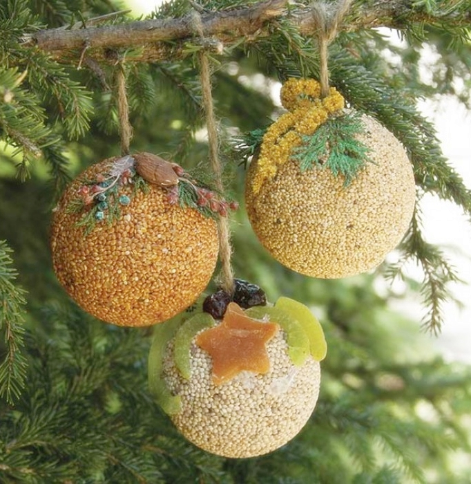 Christmas Tree Fruit Ornaments.Fruit Nut Seed Ball Ornaments 24 Pack