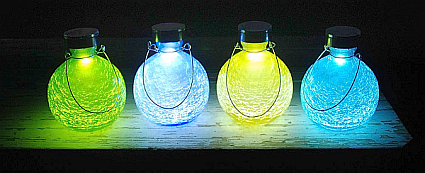 Achla Solar Crackled Glass Goblet Lantern