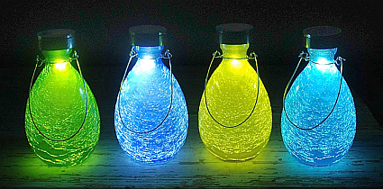 Achla Solar Crackled Glass Teardrop Lantern
