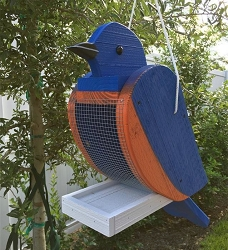 Amish Hand-Made Shaped Bird Feeder Bluebird