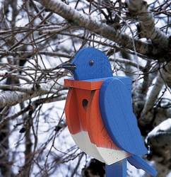 Amish Hand-Made Shaped Bird House Bluebird