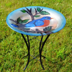 Embossed Glass Bird Baths