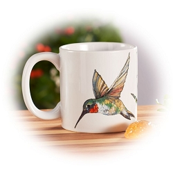 Field Guide Ruby-Throated Hummingbird Ceramic Coffee Mug Set of 2