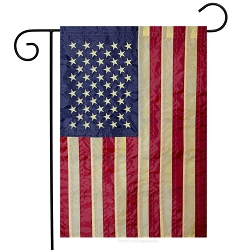Briarwood Lane Tea Stained Embroidered American Flag Garden Flag