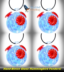 Glass Globe Hummingbird Feeder Shades of Blue Set of 4