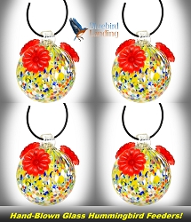 Glass Globe Hummingbird Feeder Multicolored Set of 4