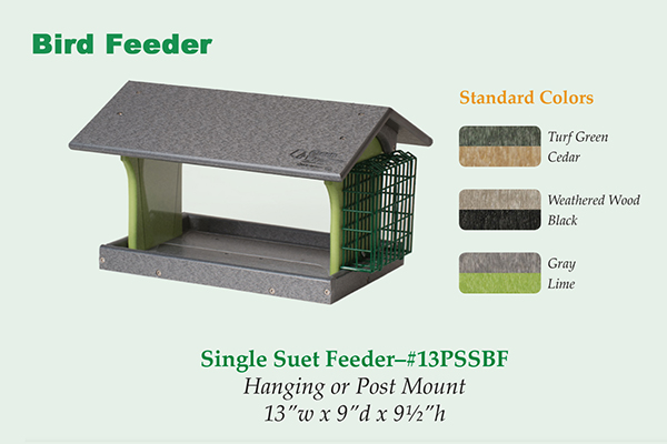 Amish Recycled Poly Hopper Feeder with Single Suet