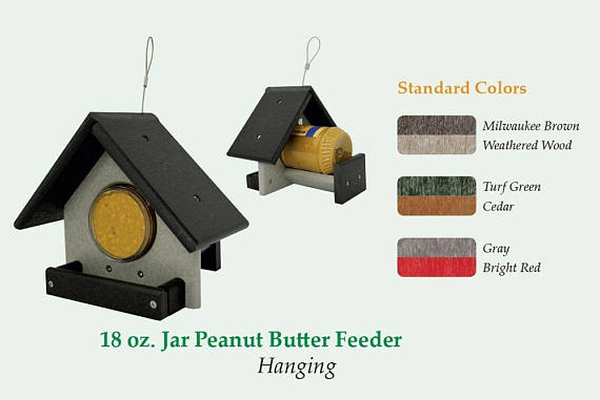 Amish Recycled Poly 18 oz. jar Peanut Butter Feeder