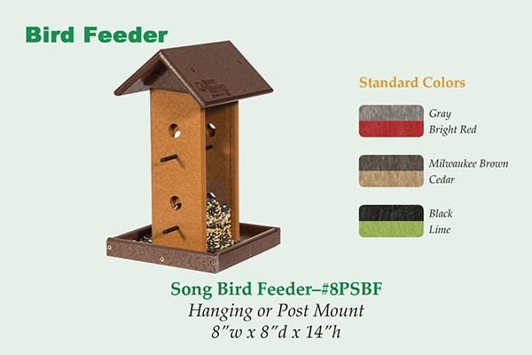 Amish Recycled Poly Songbird Hopper Feeder