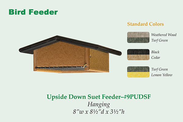 Amish Recycled Poly Upside Down Suet Feeder