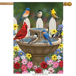 Briarwood Lane Birdbath Gathering House Flag