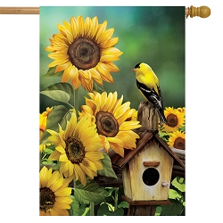 Briarwood Lane Goldfinch and Sunflowers House Flag