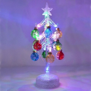 Miniature Glass Christmas Trees with Ornaments