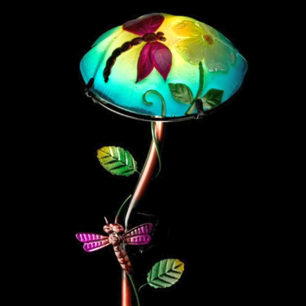 Solar Light Mushroom Garden Stake Dragonfly