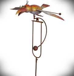Rocking Bird with Glasses Kinetic Garden Stake 61