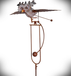 Rocking Flying Owl Kinetic Garden Stake 62