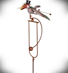 Rocking Bird with Top Hat Kinetic Garden Stake 60