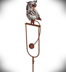 Rocking Owl Perched Kinetic Garden Stake 41