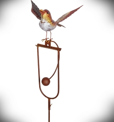 Rocking Bird Landing Kinetic Garden Stake 41