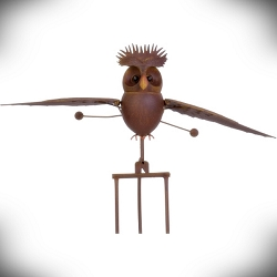 Rocking Pompadour Owl Kinetic Garden Stake 62