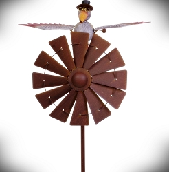 Rocking Father Bird Windmill Kinetic Garden Stake 60