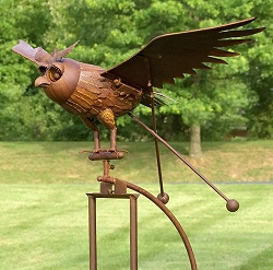 Rocking Jumbo Owl Kinetic Garden Stake 76