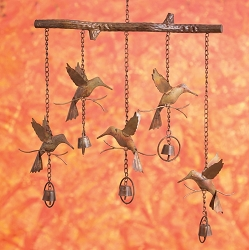 Flamed Copper Hummingbird Bells Wind Chime