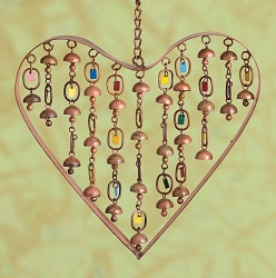 Heart with Dangles Windchime